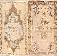 Set of 2 Geometric Anatolian Turkish Area Rugs 2x3