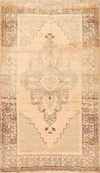 Antique Muted Geometric Anatolian Turkish Area Rug 4x6