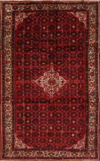 Geometric Red Hamedan Persian Area Rug 7x11