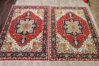 Pair of 2 Geometric Heriz Serapi Persian Area Rug 7x10