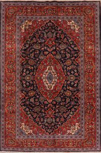Floral Kashan Persian Navy Blue Area Rug 7x10