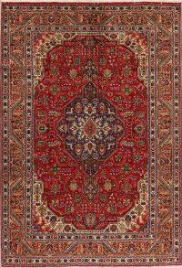 Geometric Tabriz Persian Red Area Rug 7x10
