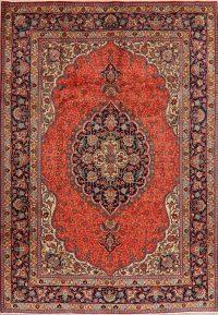 Vintage Geometric Tabriz Persian Rust Area Rug 7x10