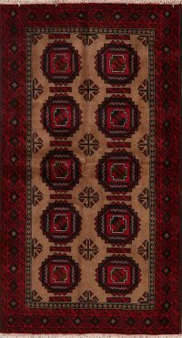 Brown Geometric Balouch Oriental Area Rug 4x7