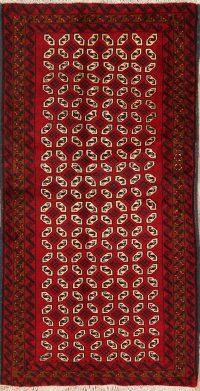 Geometric Red Balouch Oriental Area Rug 3x6