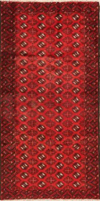 All-Over Red Geometric Balouch Persian Area Rug 4x7