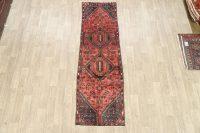 Vintage Tribal Geometric Hamedan Persian Runner Rug 3x9