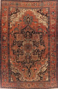 Pre-1900 Antique Vegetable Dye Heriz Serapi Persian Rug 10x15