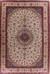Floral Kashmar Persian Area Rug Ivory 13x19