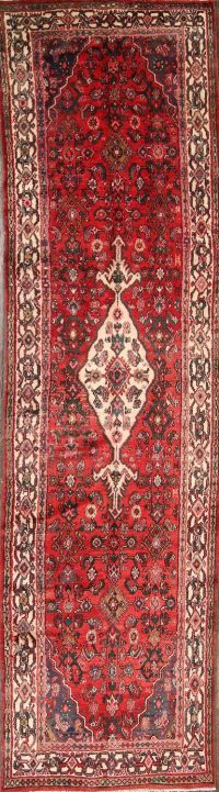 Red Geometric Hamadan Persian Runner Rug 3x10