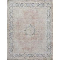 Antique Muted Floral Medallion Kerman Persian Distressed Area Rug 10x13