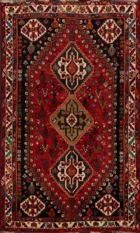 100% Vegetable Dye Abadeh Nafar Persian Area Rug 4x5