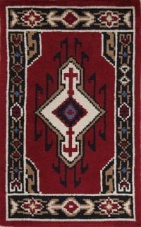 Geometric Red Rya Sweden Oriental Hand-Knotted 3x4 Wool Rug