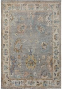 Muted Floral Oushak Vegetable Dye Turkish Area Rug 9x12