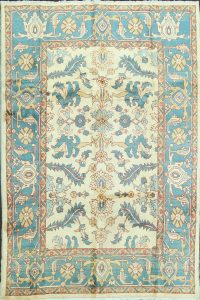 100% Vegetable Dye Floral Sultanabad Persian Area Rug 7x8