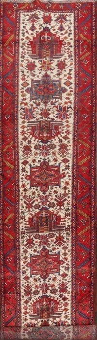 100% Vegetable Dye Vintage Heriz Serapi Persian Runner Rug 4x18