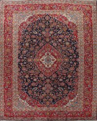 Traditional Navy Blue Floral Kashan Persian Area Rug 10x13