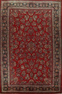 100% Vegetable Dye Floral Sarouk Persian Rug 11x18 Large