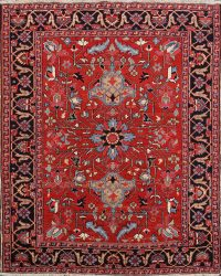 100% Vegetable Dye Antique Heriz Serapi Persian Area Rug 5x6
