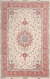 Wool/Silk Floral Tabriz Persian Ivory Area Rug 7x10