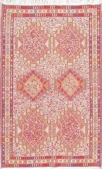 Wool/Silk Geometric Tribal Kilim Kashkoli Persian Area Rug 4x7