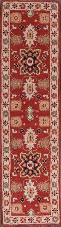 Geometric Red Kazak Indian Oriental Hand-Tufted Runner Rug 3x10