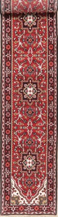 Floral Red Heriz Indian Oriental Wool Runner Rugs