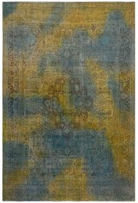 Antique Over Dyed Geometric Tabriz Persian Area Rug 10x13