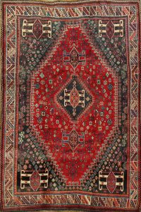 Vintage Tribal Geometric Abadeh Persian Area Rug 5x8