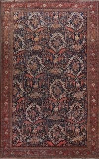 Antique Navy Blue Floral Sarouk Persian Rug 11x18