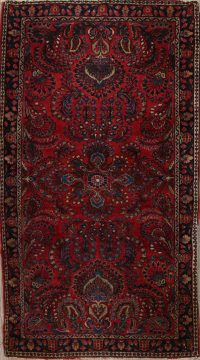 Antique Floral Sarouk Persian Red Area Rug 3x5