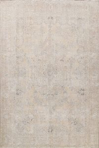 Antique Muted Floral Tabriz Persian Area Rug 9x13
