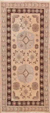 Antique Khoy 100% Vegetable Dye Oriental Runner Rug 4x8