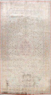 100% Silk Antique Floral Qum Persian Area Rug 6x10