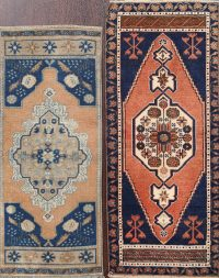 Set of 2 Geometric Oushak Oriental Area Rugs 1x3