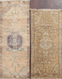 Set of 2 Geometric Oushak Oriental Area Rugs 2x4