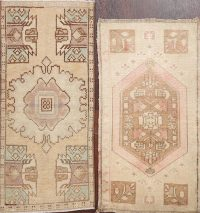 Set of 2 Geometric Oushak Oriental Area Rugs 2x3