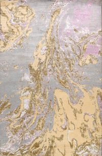 Vegetable Dye Distressed Contemporary Abstract Oriental Area Rug 9x12